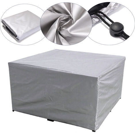 Large Outdoor Cover Garden Furniture Waterproof Patio Rattan Table Cube Set Seat silver 200x160x80cm