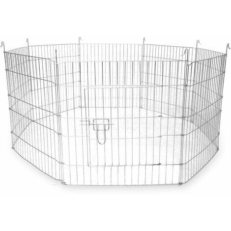 "main image of ""Large Outdoor Pet Playpen | 8 Panel Enclosure | Small/ Medium Pets | Pukkr - Silver"""