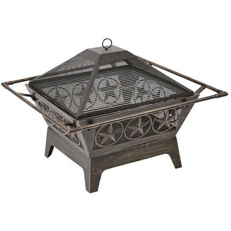 Large Outdoor Steel Fireplace Pit Bowl Mesh Lid Log Burner Brazier Garden Patio