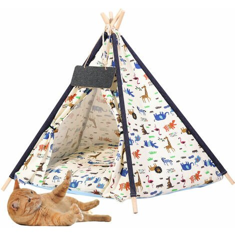 Large Pet Teepee Bed Cat/Kitten/Dog/Puppy Igloo Play Tent Tipi House Cushion Mat 64x64x67cm