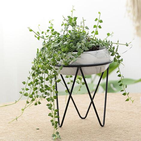 Large Plant Stand Iron and Ceramic Flower Pot Rack Set, Black + Black Marbling