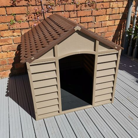 Large Plastic Dog Kennel / House in Brown – 86cm x 84cm x 82cm
