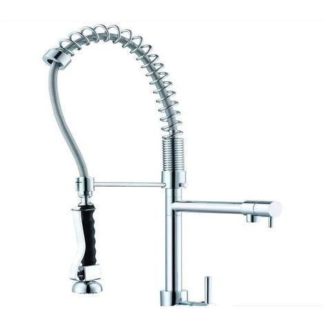 Large Professional Kitchen Sink Mixer Taps. Pull Out Spiral. 2 x Spouts (56027)