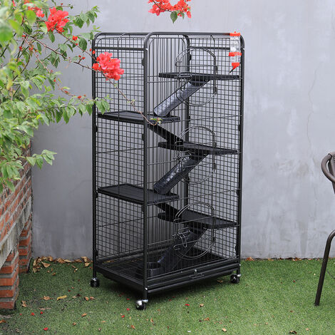 Large Rabbit Cage 5 Tiers Level Hutch Cage Stable Frame with Wheels Black