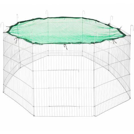 Large rabbit run with safety net Ø 204cm - guinea pig run, rabbit cage, rabbit pen - green - green