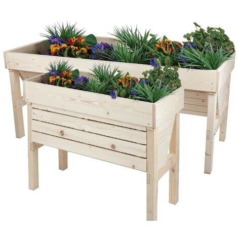 Large Raised Bed Wooden Vegetable Planter Timber Trough Box Outdoor Herb Garden