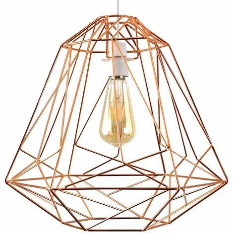 Geometric Metal Basket Cage Ceiling Pendant Light Shade - Copper