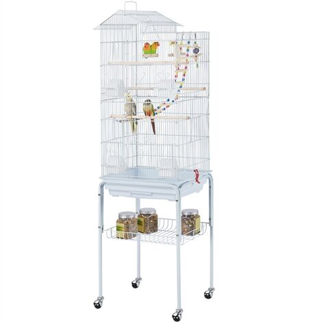 """main image of """"Large Roof Top Parrot Cage Bird Cage for Cockatiel Conure Parakeet Budgie Finch Lovebird with Stand/Toys"""""""