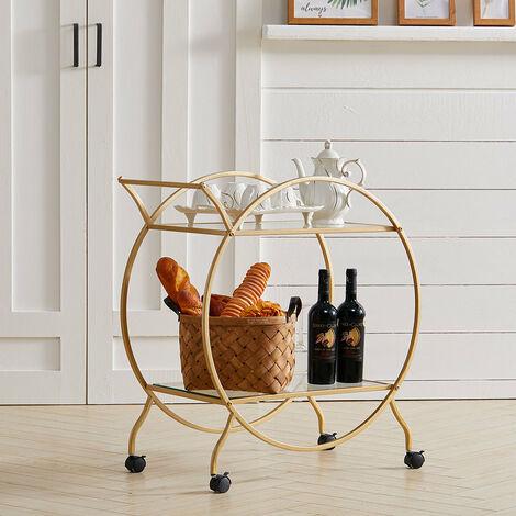 Large Round 2 Tiers Drinks Trolley Bar Wine Glass Shelf Storage Rack Serving Cart