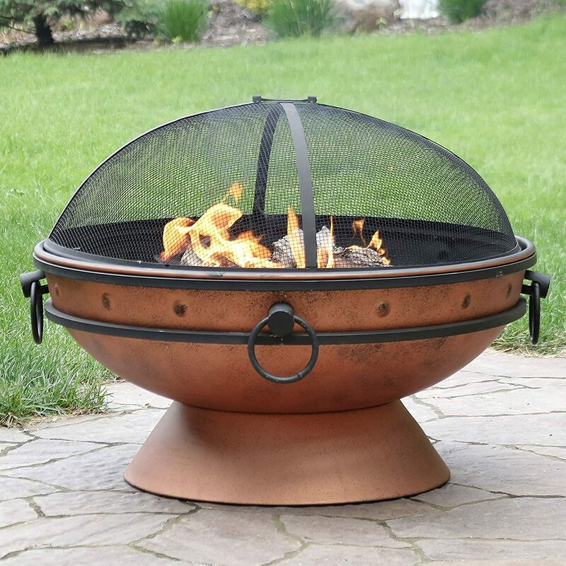 Large Round Copper Fire Pit & BBQ with Grill