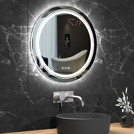 Large Round LED ILLUMINATED Bathroom Mirror Dimmable Warm White Light IP44 600mm