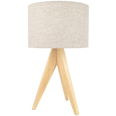 Large Rubber Brown Wood Tripod Table Lamp with Natural Linen Oatmeal Shade by Happy Homewares