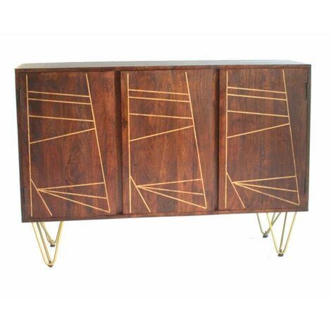 "main image of ""Large Sideboard with 3 Doors Dallas Dark Mango - Dark Wood"""