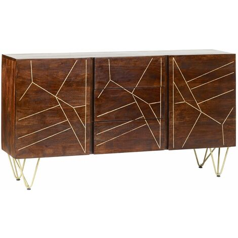 "main image of ""Large Sideboard with Doors and Drawers Dallas Dark Mango - Dark Wood"""