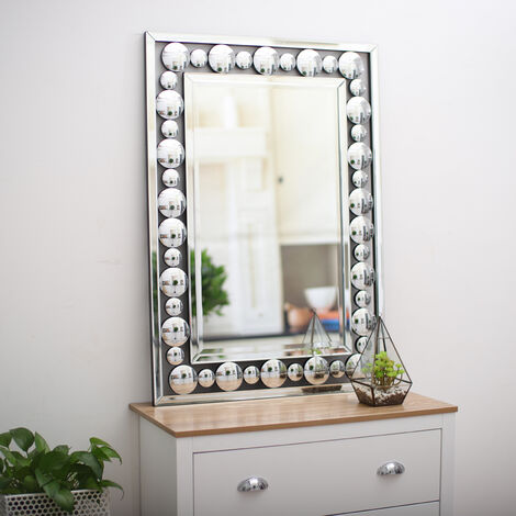 Large Silver Rectangular Wall Hanging Mirror Living Room Bedroom Home Decor