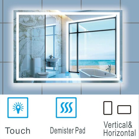 Large Size Bathroom Mirror with Illuminated LED Lights Touch Contorl | Demister
