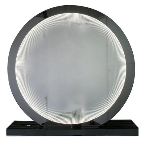 Large Smoked Mirror Infinity Round Table Lamp - Big Living