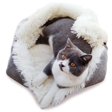 Large Soft Dog Cat Puppy Kitten Fleece Pet Blankets Snuggle Bed Sleeping Basket White Grey