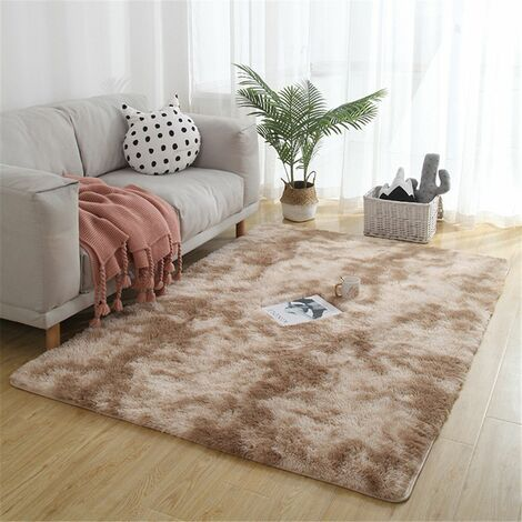 Large Soft Shaggy Rug 40mm Thick for Living Room European Home Warm Plush Floor Mat Fluffy Rugs Kids Bedroom Faux Fur Rugs Rugs (Camelbrown, 200x300cm)