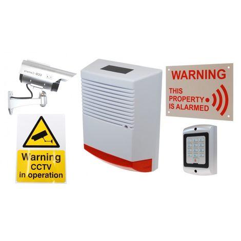 Large Solar Dummy Alarm Siren, Solar DC2 Dummy Camera, Dummy Keypad & 2 x Security Signs.. [014-0250]