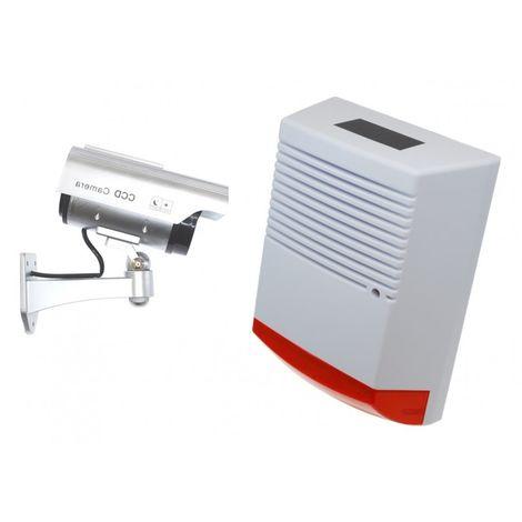 Large Solar Powered Dummy Alarm Siren & Solar DC2 Dummy CCTV Camera [014-0210]
