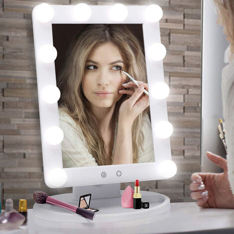 Large Stand Up Mirror With Lights Dressing Vanity Makeup Desk Table Bright LEDs,EU Plug
