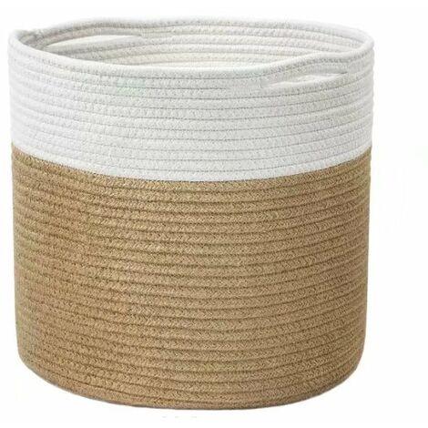 "main image of ""Large Sturdy Jute Rope Plant Basket Modern Woven Basket for 28CM Flower Pot Floor Indoor Planters, 25 x 25 CM, Storage Organizer Basket Rustic Home Decor, White and Jute Stripes"""