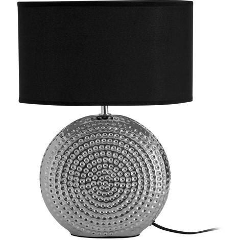 Large Table Lamp, Hammered Chrome Finish Ceramic