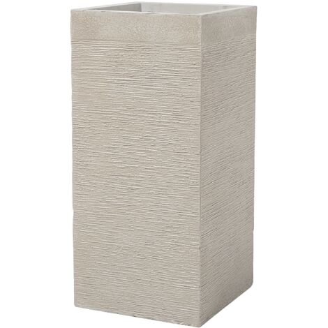 Large Tall Planter Clay Garden Decor Indoor Outdoor Beige 33x33x70 Dion