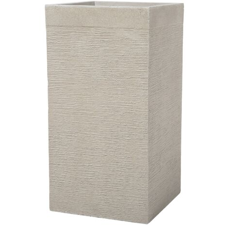 Large Tall Planter Clay Garden Decor Indoor Outdoor Beige 40x40x77 Dion