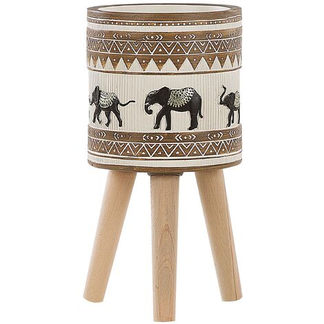 """main image of """"Large Tall Planter Magnesium Wooden Stand Beige Brown African Motif Kottes"""""""