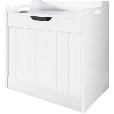 Large Toy Box White Wooden Storage Unit Chest Nursery Child's Bedroom Kids Toy Storage