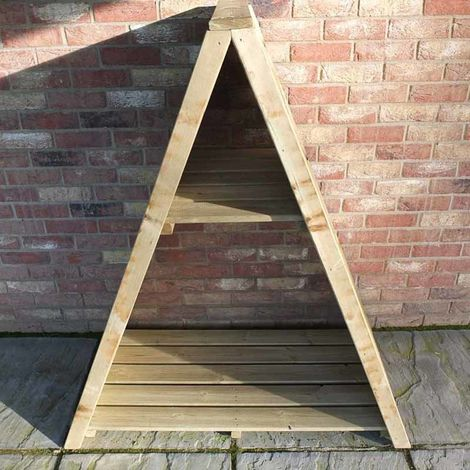 "Large Triangular 3' 11"" x 2' Overlap Pressure Treated Log Store"