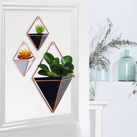 Large Wall Hanging Geometric Green Plants Planter Box Pot Flower Holder Ornament Decor, Black