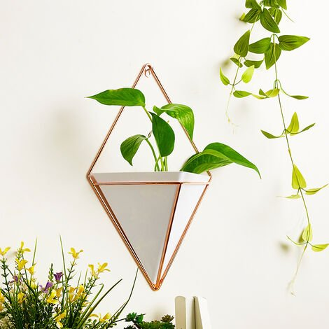 Large Wall Hanging Geometric Green Plants Planter Box Pot Flower Holder Ornament Decor,White