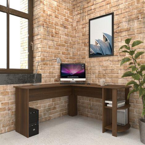 Large Walnut Corner Desk with shelves for Home Office - Piranha Furniture Pacu - Dark Walnut