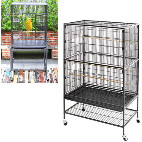 Large Wheeled Metal Bird Cage Freestanding Hutch Shelf