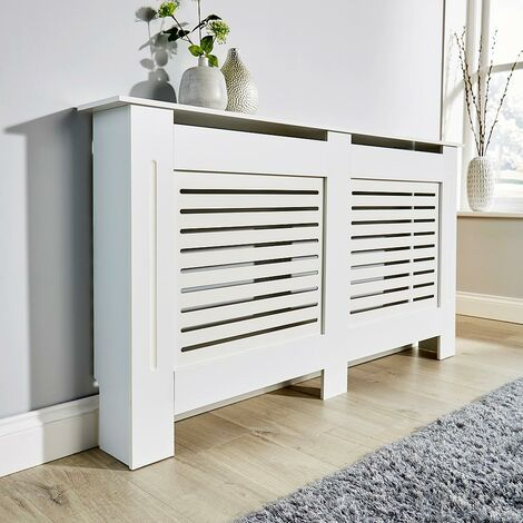"""main image of """"Large White Radiator Cover Wooden MDF Wall Cabinet Shelf Slatted Grill York"""""""
