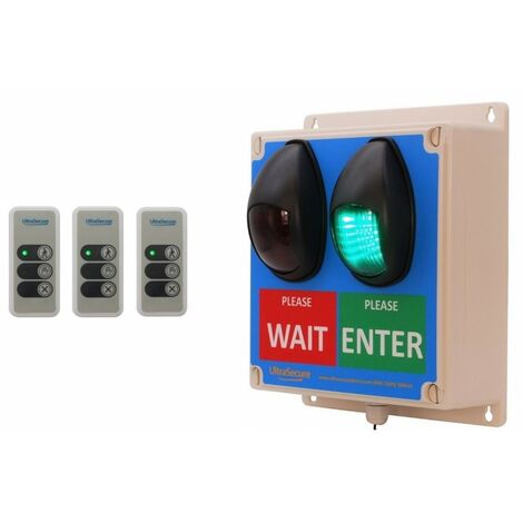 Large Wireless Customer Entry Traffic Light Kit F with 3 x Intelligent Portable Controllers [009-4770]