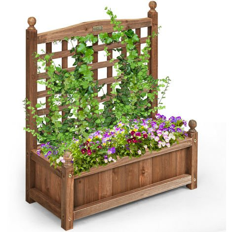 Large Wooden Lattice Planter Flowerpot Trellis Climbing Rectangular Plant Box