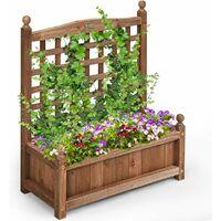 Large Wooden Lattice Planter Flowerpot Trellis Climbing Rectangular Plant Box