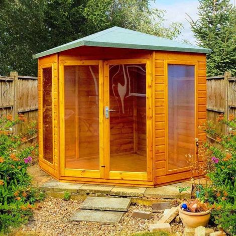 Larkspur 8' x 8' Double Door with Two Fixed Windows Summerhouse