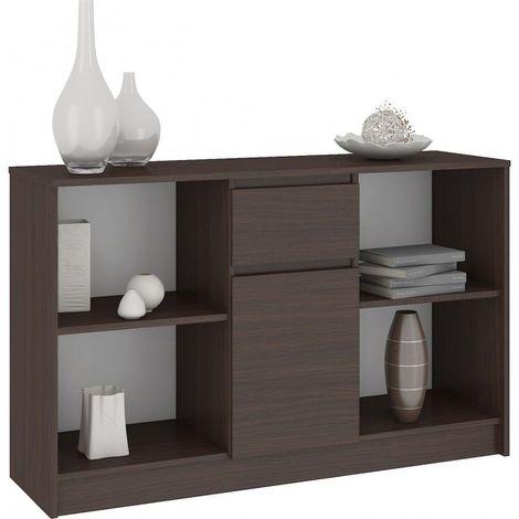 LARS - Commode Buffet Design Tendance Salon/Séjour/Chambre 120x77x40 cm - Meuble de rangement bibliothèque déco + livres - Wenge
