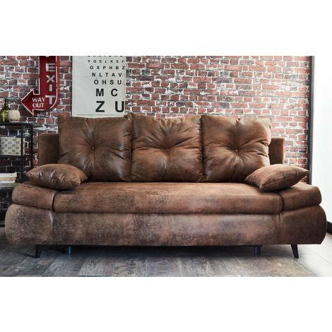 Larson Canape Droit 3 Places Convertible Avec Coffre De Rangement Style Industriel Couleur Marron Marron 3701061711573