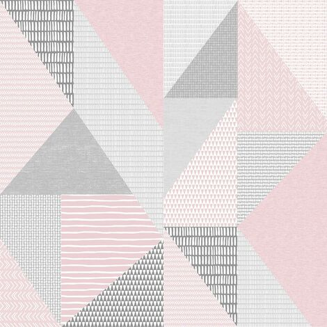 Larsson Geometric Wallpaper Catherine Lansfield Pink Grey White