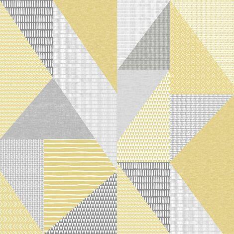 Larsson Geometric Wallpaper Catherine Lansfield Yellow Grey White