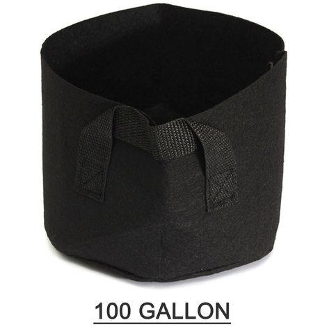 Las plantas de 100 galones negro creciendo Bolsa Criado planta de jardin de la cama elevada plantador de la flor vegetal caja de plantacion saco de cultivo, 100 * 50cm