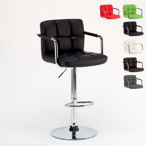 LAS VEGAS Bar Stool With Armrests & Footrest Barbershop Style