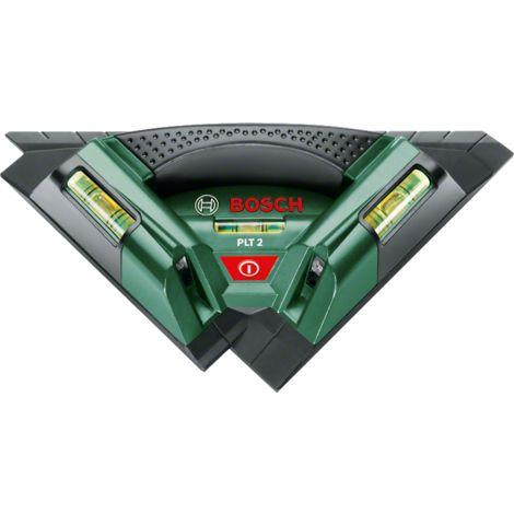 Laser carreleur Bosch - PLT 2 (Pour pose carrelage sol et mur et stratifié,3 niveaux à bulle, lignes laser lumineuse, livré avec support mural)