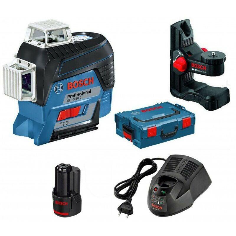Laser ligne connecté GLL 3-80 C Faisceau rouge en L-BOXX + BM1 Bosch + Chargeur + Batterie 12V